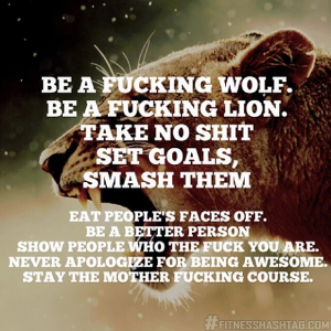 Be a fucking wolf. Be a fucking lion. Take no shit. Set goals. Smash them. Eat people's faces off. Be a better person. Never apologize for being awesome. Stay the mother fucking course. - Best writing advice ever.